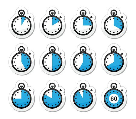 Timer measuring different time blue and black labels isolated on white Stock Photo - Budget Royalty-Free & Subscription, Code: 400-06697531