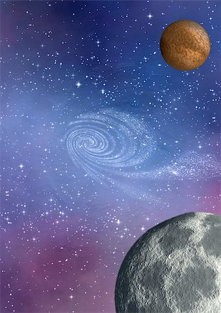 far-out planets in a space against stars Stock Photo - Budget Royalty-Free & Subscription, Code: 400-06697542