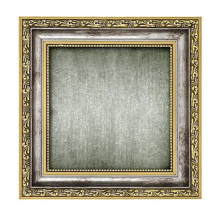 silver and gold frame with canvas interior isolated on white Stock Photo - Budget Royalty-Free & Subscription, Code: 400-06697757
