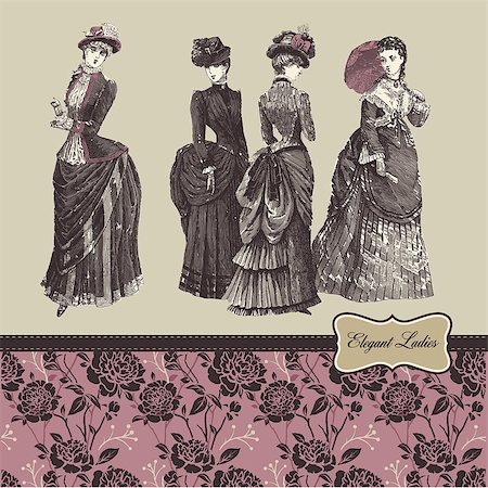 Elegant vintage ladies and pattern Stock Photo - Budget Royalty-Free & Subscription, Code: 400-06698132