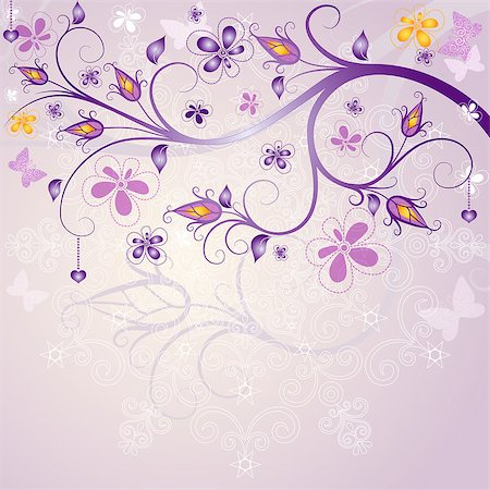 Spring pink floral easter frame with branch, flowers and butterflies (vector EPS 10) Stock Photo - Budget Royalty-Free & Subscription, Code: 400-06698263