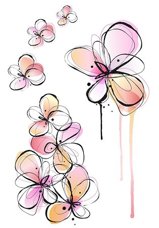 abstract ink and watercolor flowers, vector background Stock Photo - Budget Royalty-Free & Subscription, Code: 400-06698486