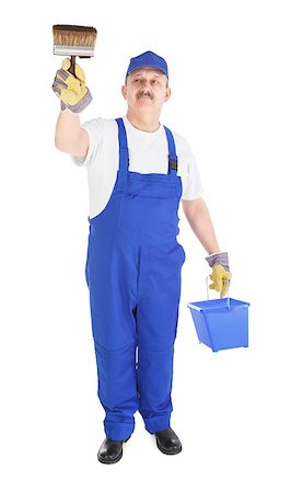 house painter with bucket and paintbrush on white background Stock Photo - Budget Royalty-Free & Subscription, Code: 400-06698481