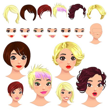 Fashion female avatars. 6 hairstyles, 6 eyes, 6 mouths, 1 head, for multiple combinations. In this image, some previews. Vector file, isolated objects. Stock Photo - Budget Royalty-Free & Subscription, Code: 400-06698966