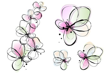 abstract ink and watercolor flowers, vector background Stock Photo - Budget Royalty-Free & Subscription, Code: 400-06698963