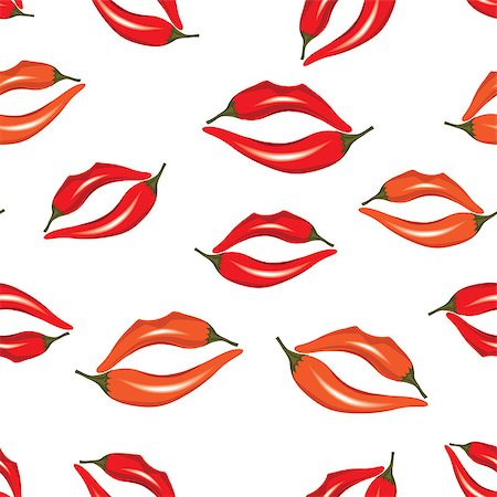 svetap (artist) - Woman lips as pepper, hot kiss seamless pattern, vector illustration isolated on white. Stock Photo - Budget Royalty-Free & Subscription, Code: 400-06699271