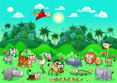 Jungle Animals. Funny cartoon and vector illustration. Stock Photo - Budget Royalty-Free & Subscription, Code: 400-06699396