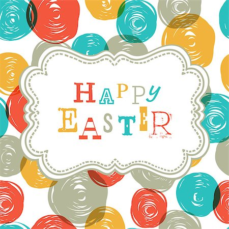 Colorful Happy Easter Card Design. Vector, EPS10 Stock Photo - Budget Royalty-Free & Subscription, Code: 400-06699491