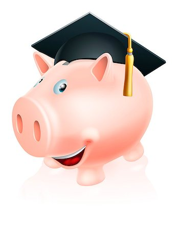 education loan - Illustration of a happy academic education savings piggy bank with mortar board convocation  cap on. Concept for saving money for study or similar. Stock Photo - Budget Royalty-Free & Subscription, Code: 400-06699837