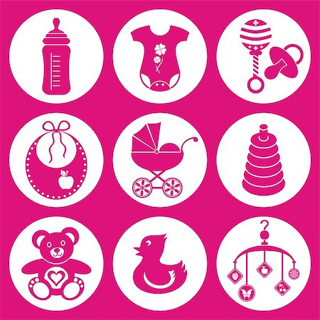 set of baby girl icons Stock Photo - Budget Royalty-Free & Subscription, Code: 400-06692443