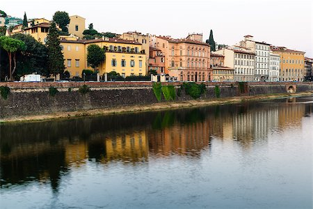 Arno River Embankment in the Early Morning Light, Florence, Italy Stock Photo - Budget Royalty-Free & Subscription, Code: 400-06692553