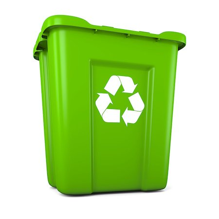 3D model of empty green plastic recycle bin Stock Photo - Budget Royalty-Free & Subscription, Code: 400-06735709