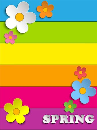 Vector - Beautiful Spring Flowers Rainbow Background Stock Photo - Budget Royalty-Free & Subscription, Code: 400-06736397
