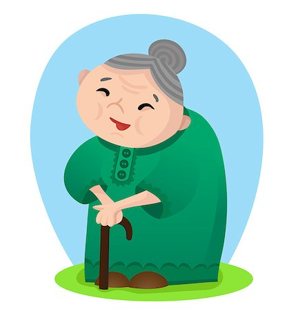 Vector illustration of cartoon smiling grandmother with cane Stock Photo - Budget Royalty-Free & Subscription, Code: 400-06736830