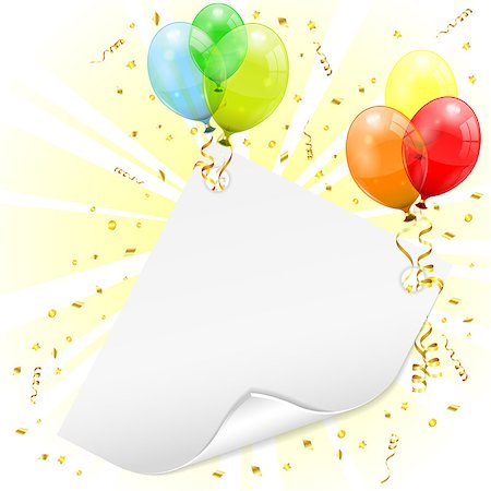 party celebration paper confetti - Birthday Frame with 3D Transparent Birthday Balloons, Scroll Paper, Confetti and Streamer, vector Stock Photo - Budget Royalty-Free & Subscription, Code: 400-06737245