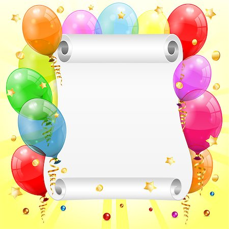 party celebration paper confetti - Birthday Frame with 3D Transparent Birthday Balloons, Scroll Paper, Confetti and Streamer, vector Stock Photo - Budget Royalty-Free & Subscription, Code: 400-06737243
