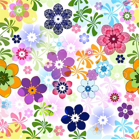 Spring colorful seamless floral pattern with transparent flowers (vector EPS 10) Stock Photo - Budget Royalty-Free & Subscription, Code: 400-06737728