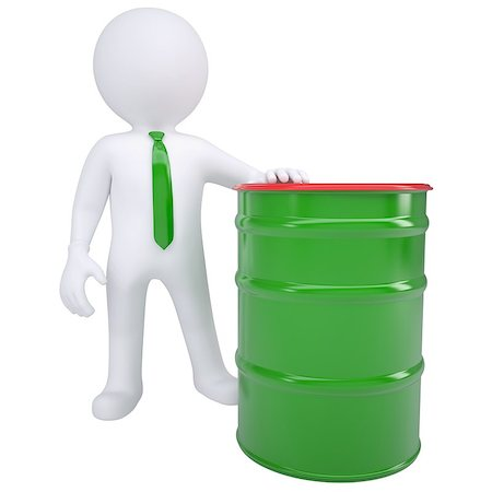 3d white man and a green barrel. Isolated render on a white background Stock Photo - Budget Royalty-Free & Subscription, Code: 400-06737796