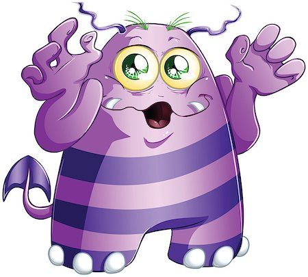 A vector illustration of cute scary purple monster for Halloween. Stock Photo - Budget Royalty-Free & Subscription, Code: 400-06738066