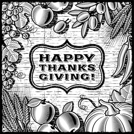 Thanksgiving retro card in woodcut style. Black and white vector illustration with clipping mask. Stock Photo - Budget Royalty-Free & Subscription, Code: 400-06738113
