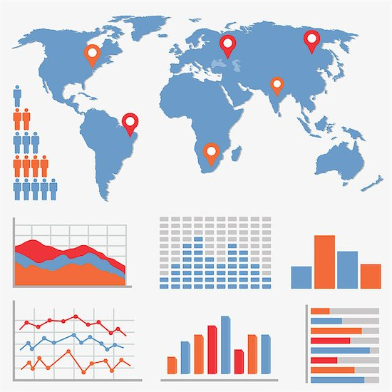 Infographics and statistics icons and world map Stock Photo - Royalty-Free, Artist: soleilc, Image code: 400-06744156