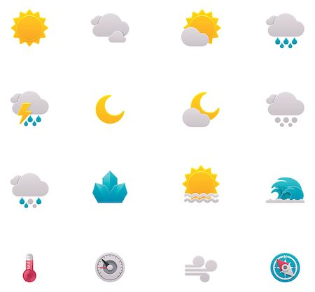 Set of the weather forecast related icons Stock Photo - Budget Royalty-Free & Subscription, Code: 400-06745096