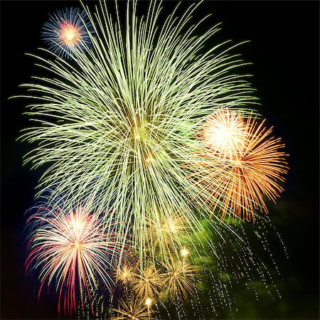 Brightly colorful fireworks and salute of various colors in the night sky Stock Photo - Budget Royalty-Free & Subscription, Code: 400-06745168