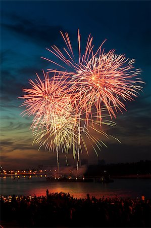 Brightly colorful fireworks and salute of various colors in the night sky Stock Photo - Budget Royalty-Free & Subscription, Code: 400-06745162
