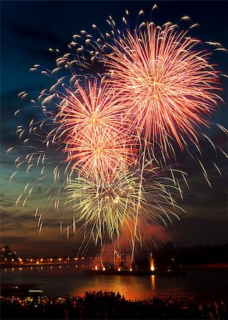 Brightly colorful fireworks and salute of various colors in the night sky Stock Photo - Budget Royalty-Free & Subscription, Code: 400-06745163