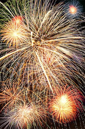 Brightly colorful fireworks and salute of various colors in the night sky Stock Photo - Budget Royalty-Free & Subscription, Code: 400-06745170