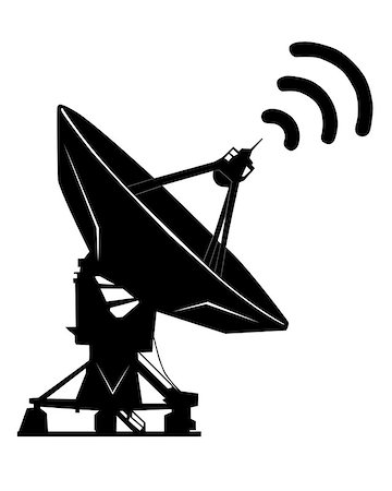 radio telescope - black silhouette on a white background radar Stock Photo - Budget Royalty-Free & Subscription, Code: 400-06745327
