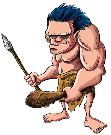 Cartoon vector illustration of a stooped muscular caveman or troglodyte in an animal skin loincloth brandishing a wooden cudgel and stone tipped spear isolated on white Stock Photo - Budget Royalty-Free & Subscription, Code: 400-06745742