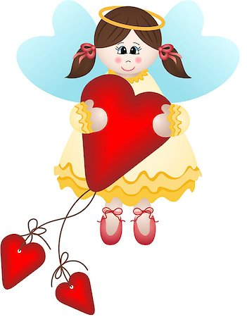 flying heart girl - Image representing a cute fairy holding a heart, isolated on white, vector design. Stock Photo - Budget Royalty-Free & Subscription, Code: 400-06746371