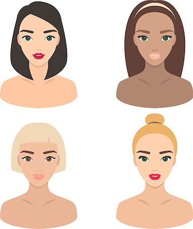 Set of four portraits: brunet, blond, ginger and brown-haired girl Stock Photo - Budget Royalty-Free & Subscription, Code: 400-06746570