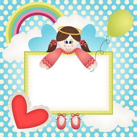 flying heart girl - Image representing a frame for photo with fairy scenery, vector design. Stock Photo - Budget Royalty-Free & Subscription, Code: 400-06746714