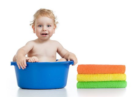 Happy kid wasing in basin Stock Photo - Budget Royalty-Free & Subscription, Code: 400-06747114