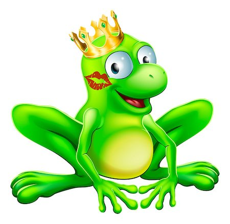 You have to kiss a lot of frogs to find a prince or princess. A frog wearing a crown with red lipstick on his or her cheek Stock Photo - Budget Royalty-Free & Subscription, Code: 400-06747814