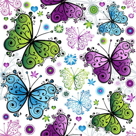 seamless floral - Seamless spring bright pattern with colorful butterflies (vector) Stock Photo - Budget Royalty-Free & Subscription, Code: 400-06748387