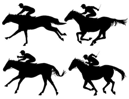 Editable vector silhouettes of racing horses with horses and jockeys as separate objects Stock Photo - Budget Royalty-Free & Subscription, Code: 400-06749251
