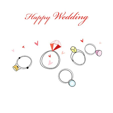 Greeting card with wedding rings and hearts on a white background Stock Photo - Budget Royalty-Free & Subscription, Code: 400-06749512