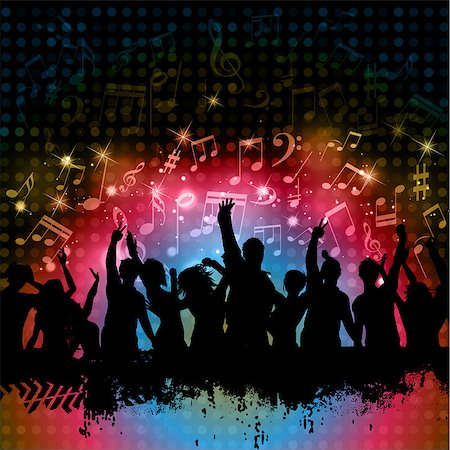 Silhouette of grunge crowd on a music notes background Stock Photo - Budget Royalty-Free & Subscription, Code: 400-06740167