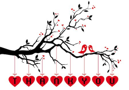 Cute love birds on tree branch with red hearts, vector background Stock Photo - Budget Royalty-Free & Subscription, Code: 400-06740233