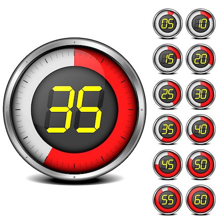 illustration of a set of metal framed timers with easy changeable numbers Stock Photo - Budget Royalty-Free & Subscription, Code: 400-06740302