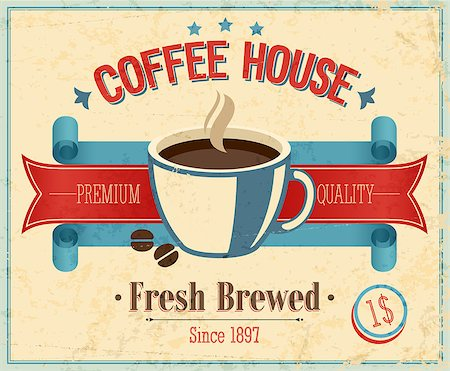 Vintage Coffee House card. Vector illustration. Stock Photo - Budget Royalty-Free & Subscription, Code: 400-06740987