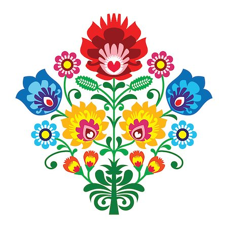 flower greeting - Decorative traditional vector patters set - paper catouts style isolated on white Stock Photo - Budget Royalty-Free & Subscription, Code: 400-06741006