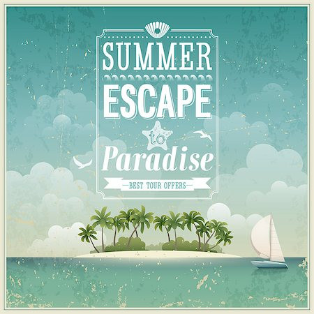 Vintage seaside view poster. Vector background. Stock Photo - Budget Royalty-Free & Subscription, Code: 400-06741039