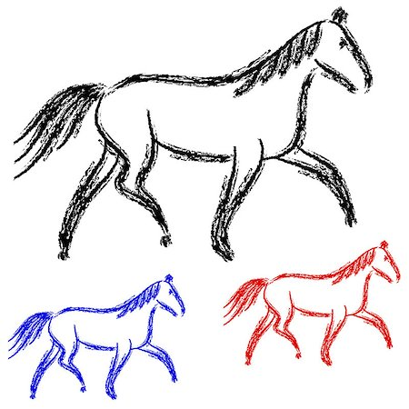 pretty in black clipart - horses outlines. vector collection Stock Photo - Budget Royalty-Free & Subscription, Code: 400-06741744