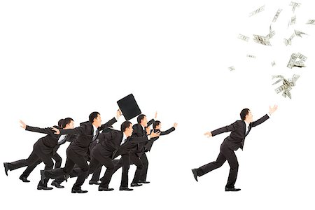 excited businessman running to the money Stock Photo - Budget Royalty-Free & Subscription, Code: 400-06742781