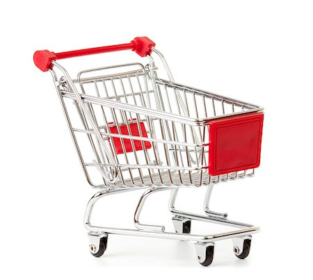 empty shopping cart - shopping cart isolated on white Stock Photo - Budget Royalty-Free & Subscription, Code: 400-06743477