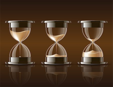 sand clock - Sand falling in the hourglass in three different states on dark background. Vector illustration Stock Photo - Budget Royalty-Free & Subscription, Code: 400-06743611